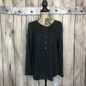 Ann Taylor Black Half Button Career Blouse Medium